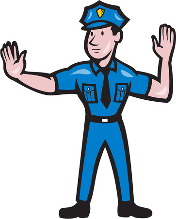 Illustrazione di un ufficiale di polizia stradale poliziotto fare un gesto segnale di arresto a mano fatto in stile cartone animato su sfondo isolato. Archivio Fotografico - 27236033