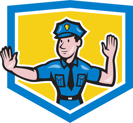 Illustration of a traffic policeman police officer making a stop hand signal gesture set inside crest shield done in cartoon style on isolated background. Vector