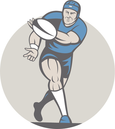 Illustration of a rugby player running passing the ball facing front done in cartoon style on isolated background. Vector