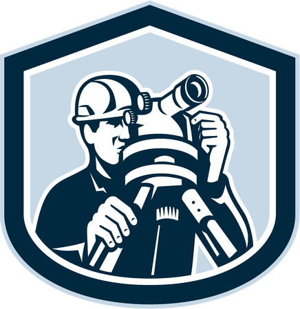geodetic: Illustration of a surveyor geodetic engineer with theodolite instrument surveying viewed from front set inside shield crest shape done in retro style.