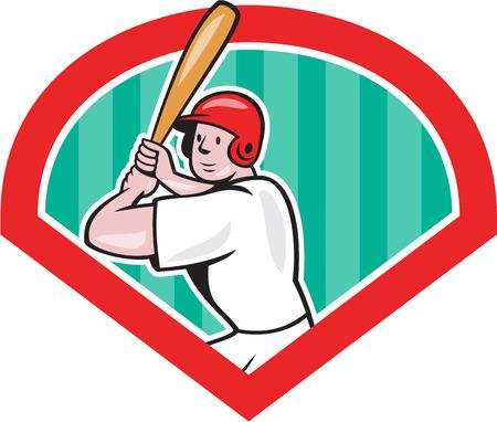 bateo: Ilustraci�n de un jugador de b�isbol bateador bateador bateo americana con el conjunto de murci�lagos en el interior del diamante hecho en estilo de dibujos animados aislado en el fondo blanco