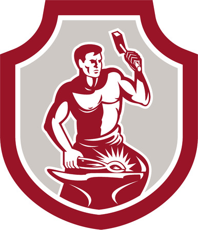 Illustration of a blacksmith worker striking using hammer sledgehammer at anvil done in retro style set inside shield crest shape on isolated background