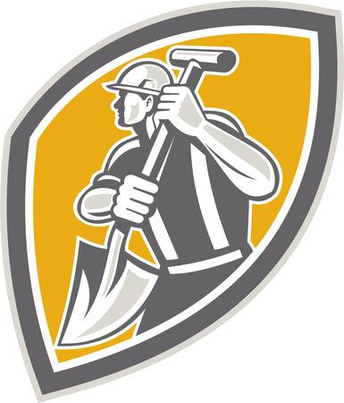 digging: Illustration of a construction worker wearing hardhat digging using shovel spade facing side set inside shield done in retro style Illustration