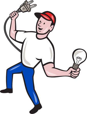 plug electric: Ilustraci�n de un trabajador electricista sosteniendo un enchufe el�ctrico en una mano y una bombilla en el otro conjunto frente a frente en el fondo aislado hecho en estilo de dibujos animados Vectores