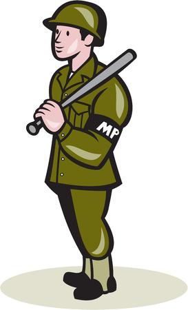 estafette stokje: Illustratie van een militaire politieman met nacht stok baton gerichte zijde staan op geïsoleerde achtergrond gedaan in cartoon-stijl