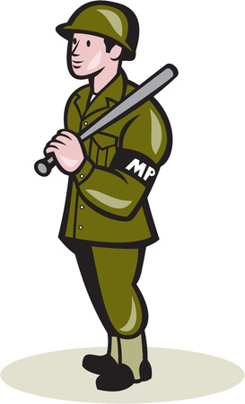 night stick: Illustration of a military police officer with night stick baton facing side standing on isolated background done in cartoon style