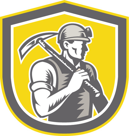 Illustration of a coal miner wearing hardhat with pick axe facing side set inside shield crest done in retro woodcut style. Vector