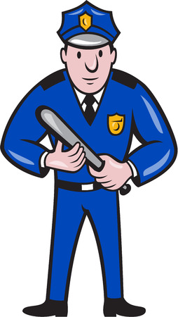 Illustration of a policeman police officer with night stick baton standing facing front  on isolated background done in cartoon style. Vector