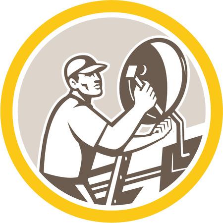 installateur: Illustratie van een satelliet schotel installateur binnen cirkel gedaan in retro stijl op geïsoleerde achtergrond. Stock Illustratie