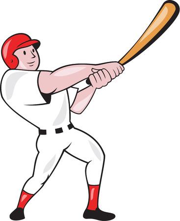 bateo: Ilustraci�n de un jugador de b�isbol bateador bateo bateador bate oscilante americano hecho en estilo de dibujos animados aislado en el fondo blanco.