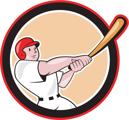 hitter: Illustration of an american baseball player batter hitter batting with bat set inside circle shape done in cartoon style isolated on white background. Illustration