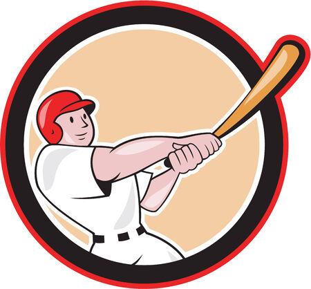 bateo: Ilustraci�n de un jugador de b�isbol bateador bateo con el bate bateador americana situada en el interior la forma del c�rculo hecho en estilo de dibujos animados aislado en el fondo blanco.