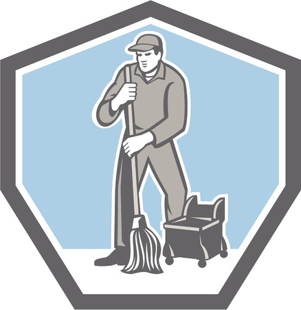 janitor: Illustration of a male cleaner janitor worker cleaning mopping floor viewed from front set inside shield crest on isolated background done in retro style. Illustration