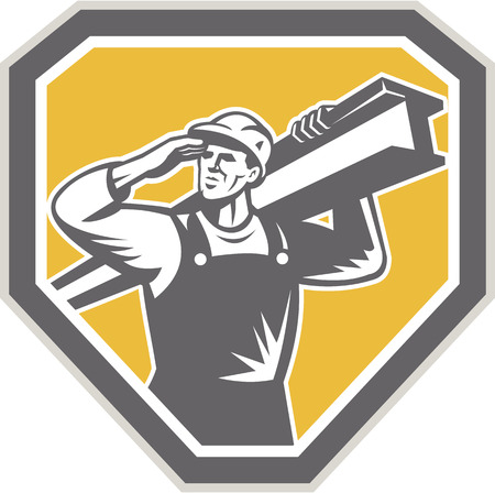 girders: Illustration of construction steel worker carrying i-beam girder viewed from front saluting set inside shield crest done in retro woodcut style.