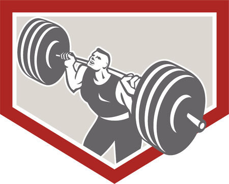 weightlifter: Illustration of a weightlifter athlete muscle-up lifting barbell facing front set inside shield crest shape done in retro style on isolated white background.