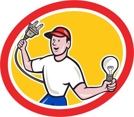 plug electric: Ilustraci�n de un trabajador electricista sosteniendo un enchufe el�ctrico en una mano y una bombilla en el otro frente hacia dentro del c�rculo en el fondo aislado hecho en estilo de dibujos animados.