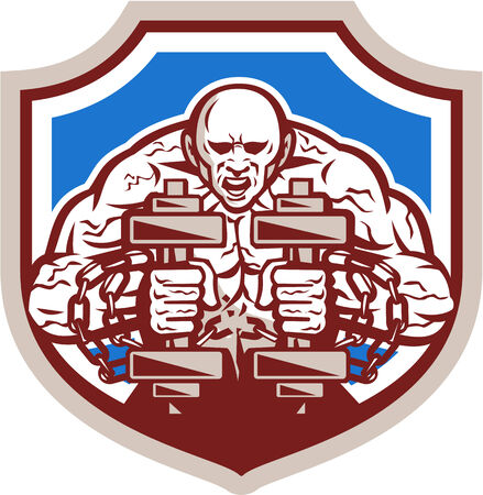 Illustration of a strongman muscular guy lifting dumbbells weight training breaking shacles chain viewed from front set inside shield crest shape done in retro style.