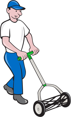 lawn mowing: Illustration of male gardener mowing with manual lawn cylinder reel mower facing front done in cartoon style on isolated white background.