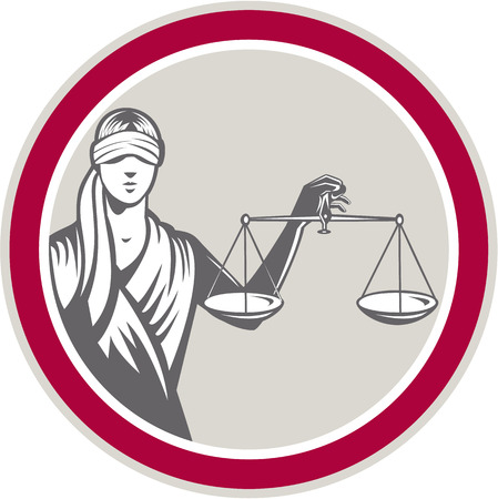 Afbeelding van geblinddoekte dame naar voren gericht bedrijf en het aantrekken van maximaal weegschalen van gerechtigheid set binnen cirkel op witte achtergrond gedaan in retro stijl.
