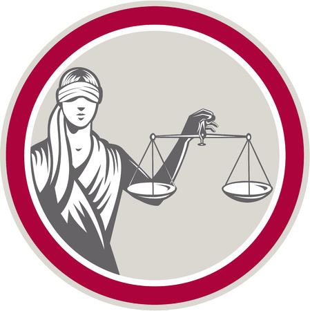 dama de la justicia: Ilustración de la señora con los ojos vendados frente holding delante y levantando balanzas de la justicia dentro de círculo sobre fondo blanco aislado hecho en estilo retro.