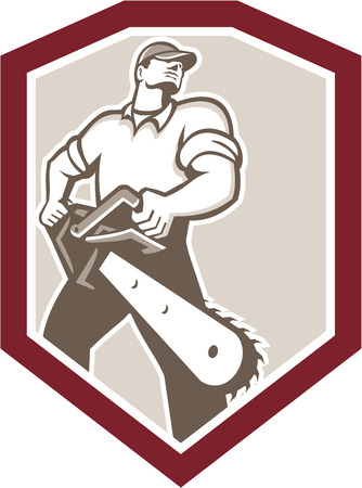 Illustration of lumberjack arborist tree surgeon holding a chainsaw viewed from low angle set inside shield crest shape on isolated white background done in retro style. Vector