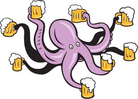 漫画のスタイルで行われる分離の背景上に触手にビールのジョッキを保持しているタコのイラスト。