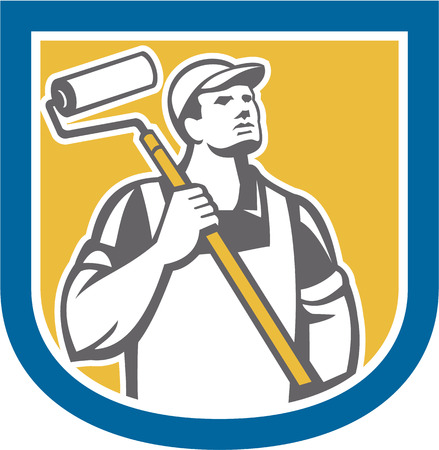 Illustration of a house painter holding paint roller on shoulder looking up viewed from front set inside shield crest on isolated white background done in retro style. Vector