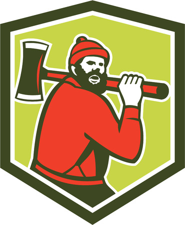 sawyer: Illustration of Paul Bunyan a lumberjack sawyer forest worker carrying an axe set inside shield crest shape done in retro style on isolated background.