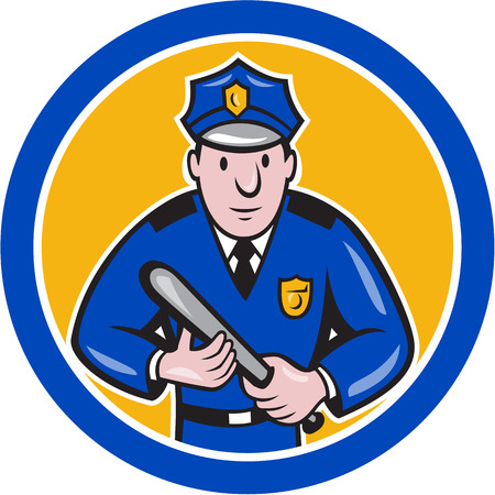 Illustration of a policeman police officer with night stick baton facing front set inside circle on isolated background done in cartoon style. Vector