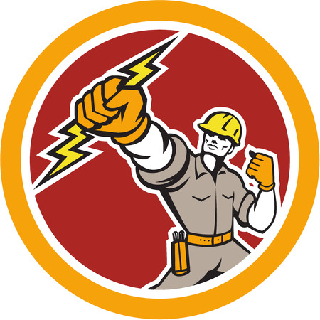 Illustration of an electrician construction worker power lineman wielding holding a lightning bolt set inside circle done in retro style on isolated white background. Иллюстрация