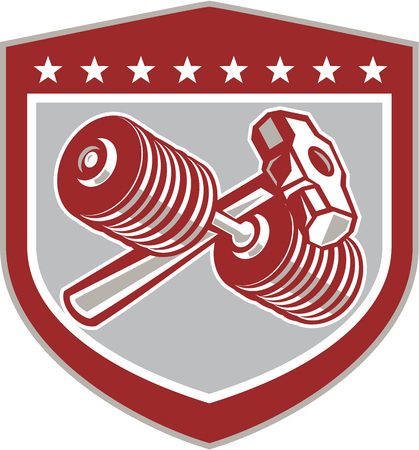 Illustration of crossed dumbbell and sledgehammer set inside shield crest shape on isolated background done in retro style.