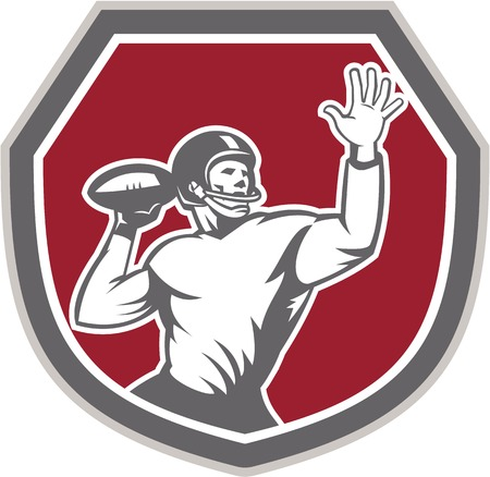 Illustration of an american football gridiron quarterback player throw ball facing front set inside crest shield on isolated background done in retro style. Illustration