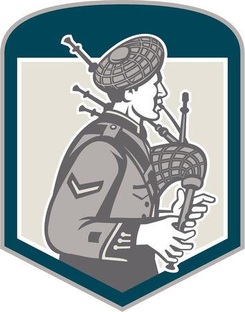 gaita: Ilustración de un gaitero escocés que toca las gaitas vistos desde el conjunto de lado dentro de cresta escudo sobre fondo aislado hecho en estilo retro grabado en madera.