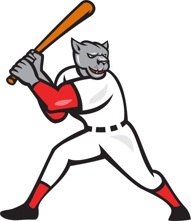 hitter: Illustration of a black panther baseball player batter hitter batting viewed from side done in cartoon style isolated on white background. Illustration