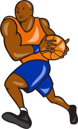 lay: Illustration of a basketball player holding ball lay up on isolated white background done in cartoon style. Illustration