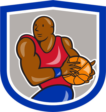 lay: Illustration of a basketball player holding ball lay up set inside shield crest on isolated white background done in cartoon style.