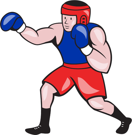 punched: Illustration of an amateur boxer wearing head gear and boxing gloves jabbing punching viewed from side done in cartoon style on isolated background.