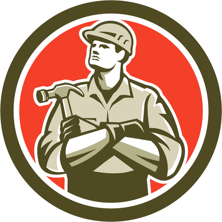 hammer: Illustration of a carpenter builder with arms crossed holding hammer set inside circle round shape on isolated background.