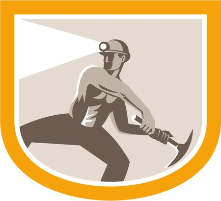 Illustration of a coal miner wearing hardhat with pick axe facing front set inside oval done in retro style. Vector