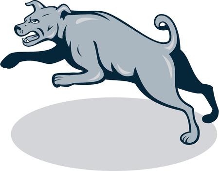 barking: Illustrazione di un arrabbiato abbaiare mastino cane bastardo visto dal salto lato su sfondo bianco fatto in stile cartone animato.