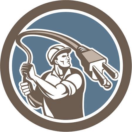 plug electric: Ilustraci�n de un trabajador electricista sosteniendo un enchufe el�ctrico como un frente frente a lazo fij� el c�rculo interior en el fondo aislado hecho en estilo retro.