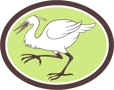 egret: Illustration of a egret heron crane walking side set inside oval shape on isolated white background done in cartoon style.