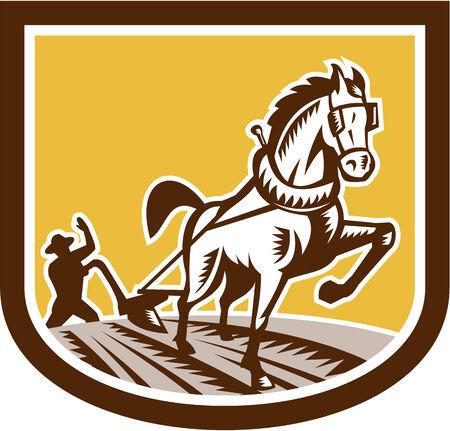 arando: Ilustración de los agricultores y el campo de la granja del caballo de arar vistos de frente, situada en el interior cresta forma de escudo hecho en estilo retro grabado en el fondo aislado.