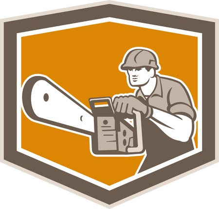 forestry: Illustration of lumberjack arborist tree surgeon operating a chainsaw viewed from front set inside crest shield shape on isolated white background done in retro style.