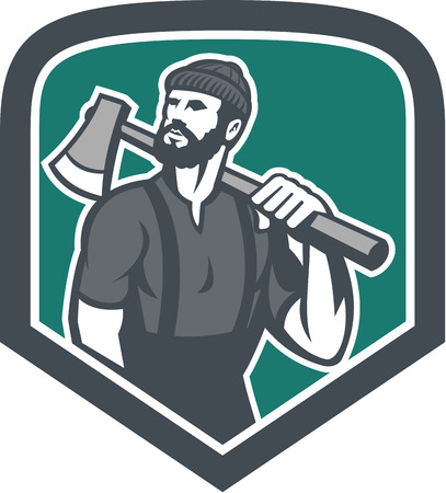 sawyer: Illustration of a lumberjack sawyer forest holding an axe on shoulder looking up to side set inside shield crest shape done in retro style.