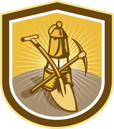 pick axe: Illustration of a coal miner pick axe and shovel crossed with lamp set inside shield crest shape done in retro woodcut style.
