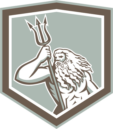 Illustration of Roman god of sea Neptune or Poseidon of Greek mythology holding a trident set inside shield crest on isolated white background.