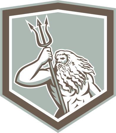 neptuno: Ilustración del dios romano del mar, Neptuno o Poseidón de la mitología griega que sostiene un tridente conjunto dentro cresta escudo sobre fondo blanco aislado.