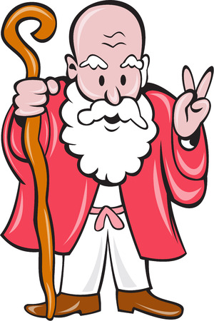old man beard: Illustration of a bearded old man holding staff and showing peace sign viewed from front on isolated background done in cartoon style.