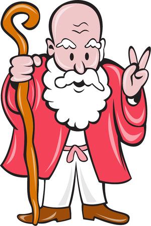 hombre con barba: Ilustraci�n de un hombre viejo con barba sosteniendo personal y mostrando signo de la paz visto de frente en el fondo aislado hecho en estilo de dibujos animados.